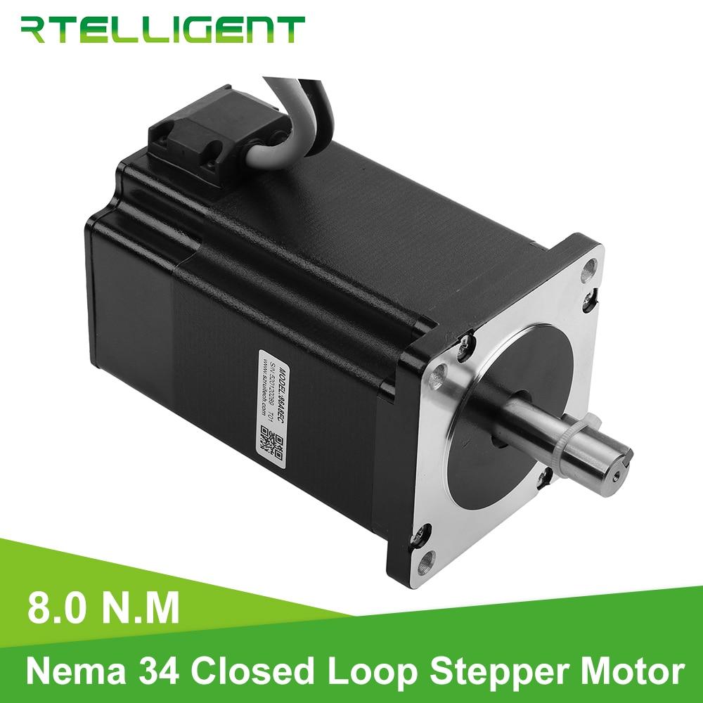Rtelligent High Torque Nema 34 86A8EC 8 0N M Hybird CNC Closed Loop Stepper Motor Easy