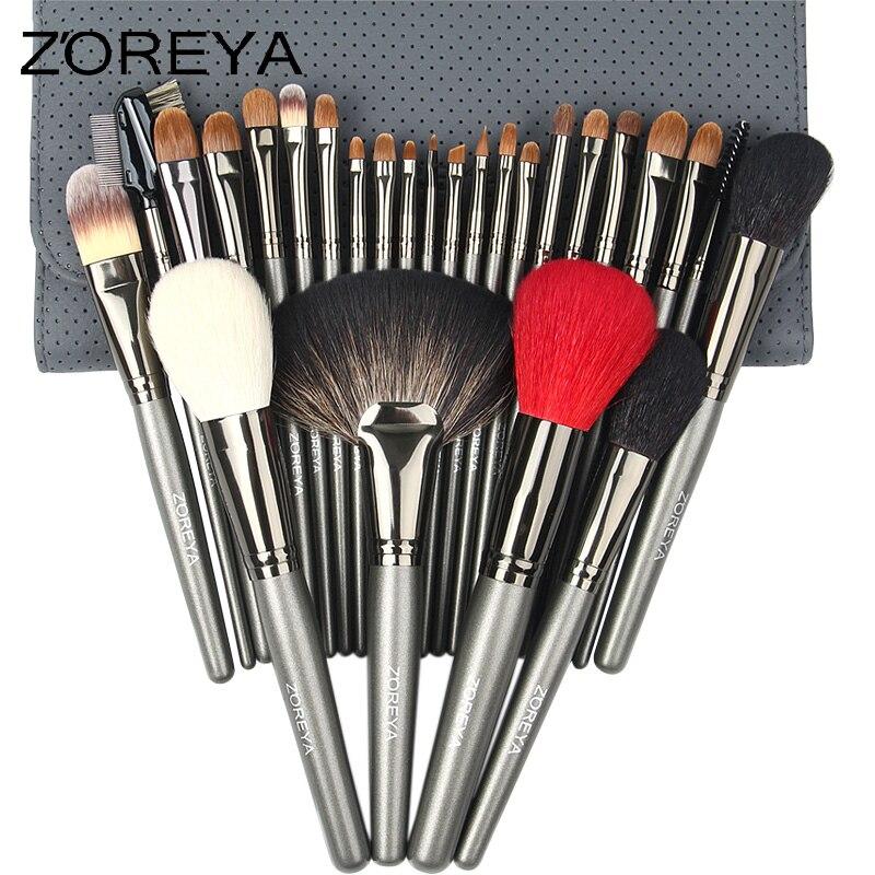 ZOREYA Pelo di Martora di Alta Qualità Spazzole di Trucco 26 pz Professionale Make Up Brush Set Con Il Sacchetto Cosmetico