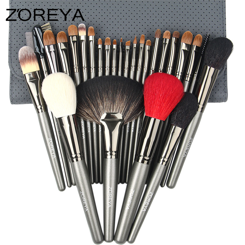 ZOREYA Sable Hair High Quality Makeup Brushes 26pcs Professional Make Up Brush Set With Cosmetic Bag скамья bronze gym h 024