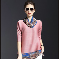 Fashion Women Multicolor Printing T shirts Special Pleats Loose Long Shirts Top Elegant Ladies Half Sleeve Floral Tees