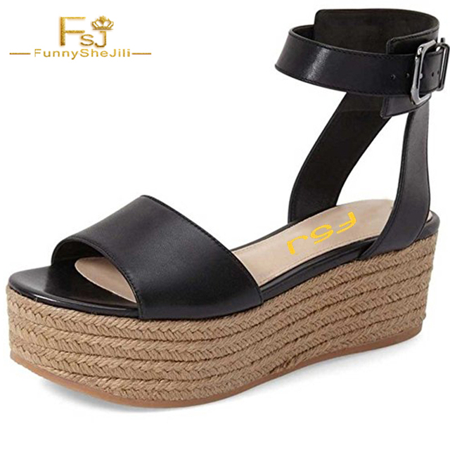 bfb1ff9069 Summer NEW Espadrilles Wedges Fashion Platform Black Women Casual Ankle  Buckle Leather Shoes Open Toe Sandals With Size 4-16 FSJ