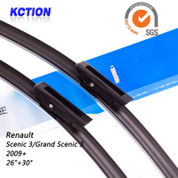 Car Windshield Wiper Blade For Renault Scenic 3/Grand Scenic 3(2009+), 26+30, Natural rubber, Bracketless, Car Accessories