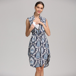 Image 3 - Новый летний Стиль без рукавов с рисунком пера для беременных Одежда для кормящих женщин халат для кормящих женщин для беременных женщин платье для кормящих