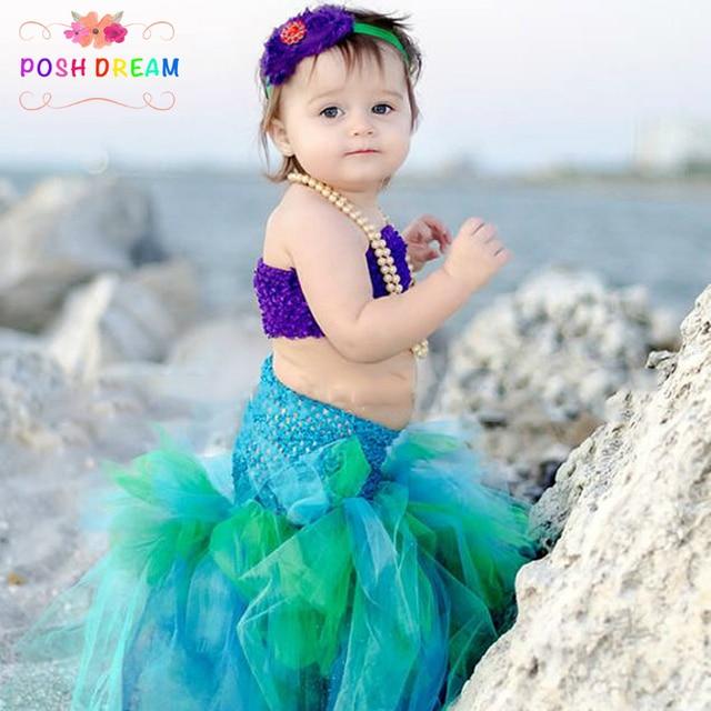 b4f2707e9 POSH DREAM Mermaid Girl Dress Purple Blue Green Mermaid Kids Girl Cosplay Tutu  Dress For Halloween Party Children Kids Clothes