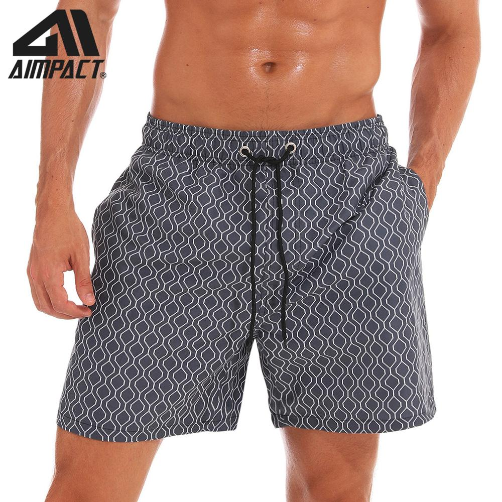 AIMPACT Men's Swim Trunks Swimming   Shorts   Quick Dry Bathing Suits Beach Gray plaid Grid Holiday Party   Board     Shorts   AM2194