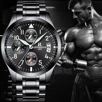 R relogio masculino שחור Mens למעלה מותג שעונים עמיד למים פלדת שעוני יד צבאי ספורט גברים שעון קוורץ עסקי אופנה