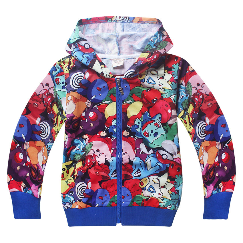 Pokemon boys and girls go Spring Autumn zipped Hoodies Sweatshirts coat girls Warm Jacket kids clothes v tree girls jacket coat fleece girls hoodies spring autumn kids sweatshirt warm girls tops coat zipper clothes baby clothes