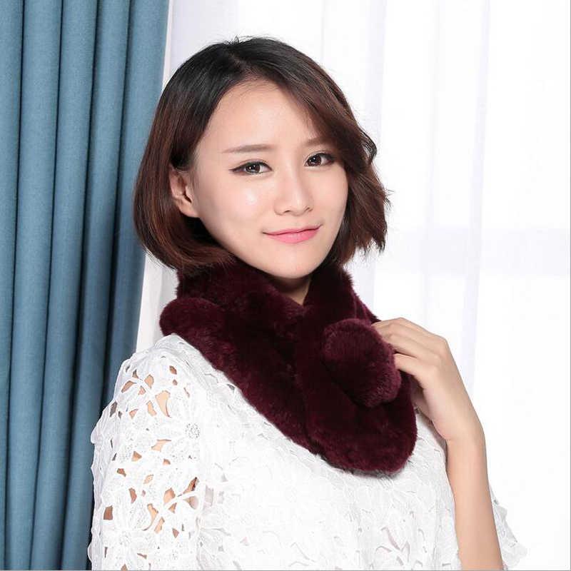 Новый Модный женский полный комплект из кроличьей кожи и меха кролика Рекс, теплый и мягкий шарф из натурального 100% кроличьего меха, шарфы оптом и в розницу