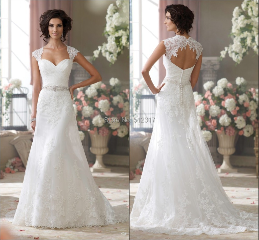 2015 New Collection Sweetheart Cap Sleeves Keyhole Back Lace Wedding Dresses In From Weddings Events On Aliexpress