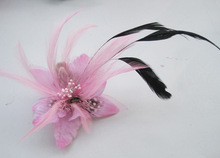 2017 Pink Flower Hair Accessories Woman Decoration Brooch Wedding Party Barrettes Hair Clip Bridal Wedding Feather