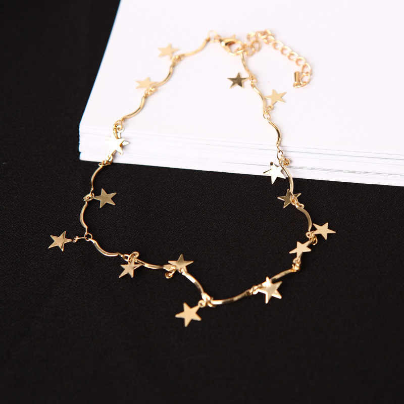 Punk Fashion 2018 New Necklace Simple Five-pointed Star Clavicle Chain Wave Short Paragraph Collar Wholesale Necklace Sales