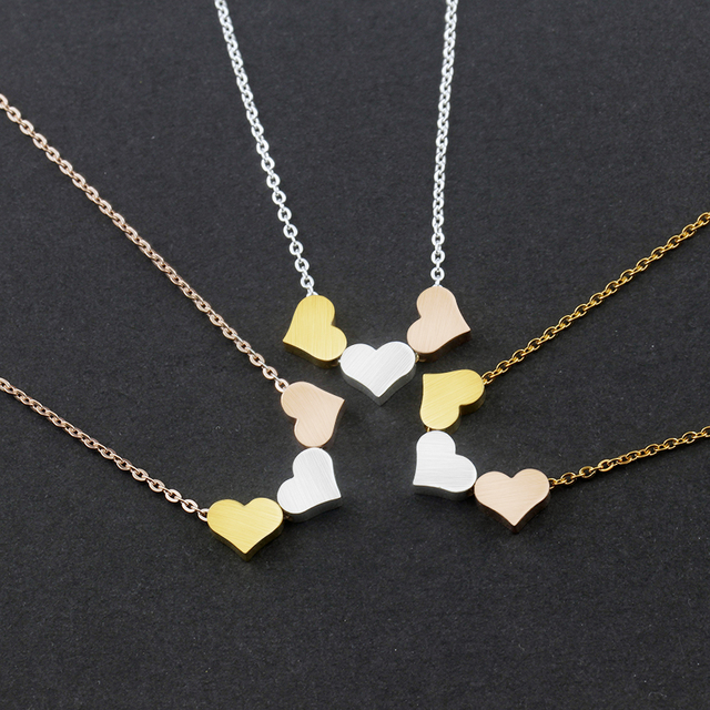 Wholesale 10pcslot rose gold stainless steel clavicle chain classic wholesale 10pcslot rose gold stainless steel clavicle chain classic triple heart pendant charm necklace aloadofball Images
