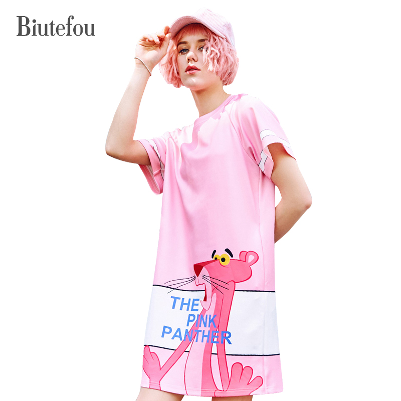 2019 Biutefou summer fashion cartoon print spliced dresses women pink panther pattern short sleeve dresses