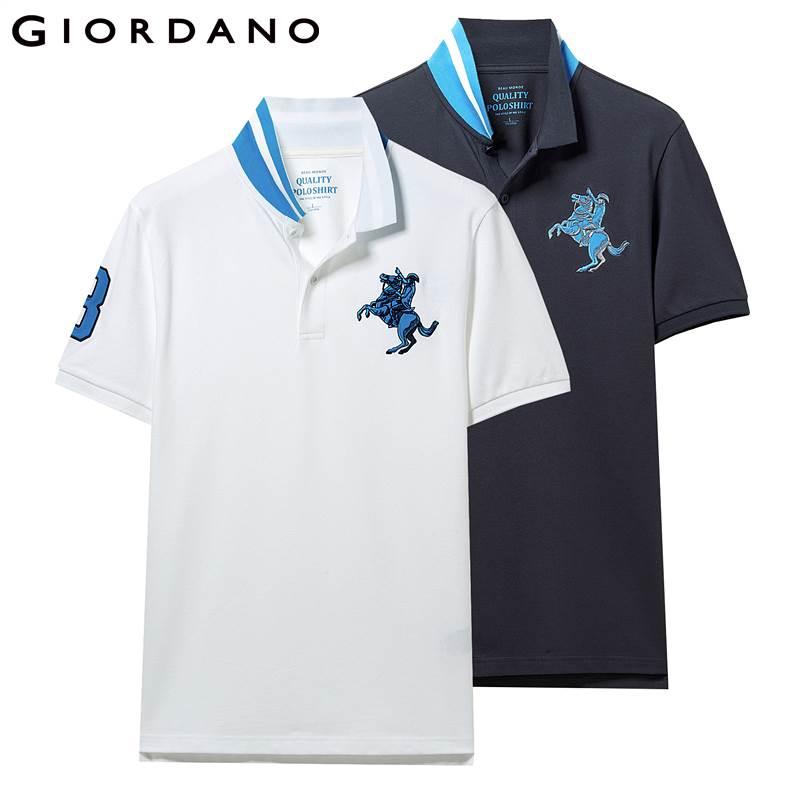f0ee07e9b29 Джордано Мужская рубашка поло 2-Pack вышитый узор модные поло мужские  эластичные с коротким рукавом Поло Para Hombre брендовые летние топы