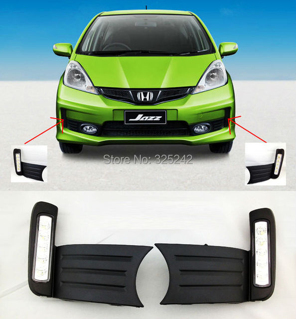 For Honda Jazz Fit 2011 Excellent Quality Ultra Bright Illumination LED  Daytime Running Light Led