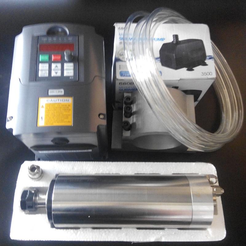 TOP CNC 80MM HY 1.5KW ER11 WATER-COOLED SPINDLE MOTOR & DRIVE INVERTER VFD+7PCS er11