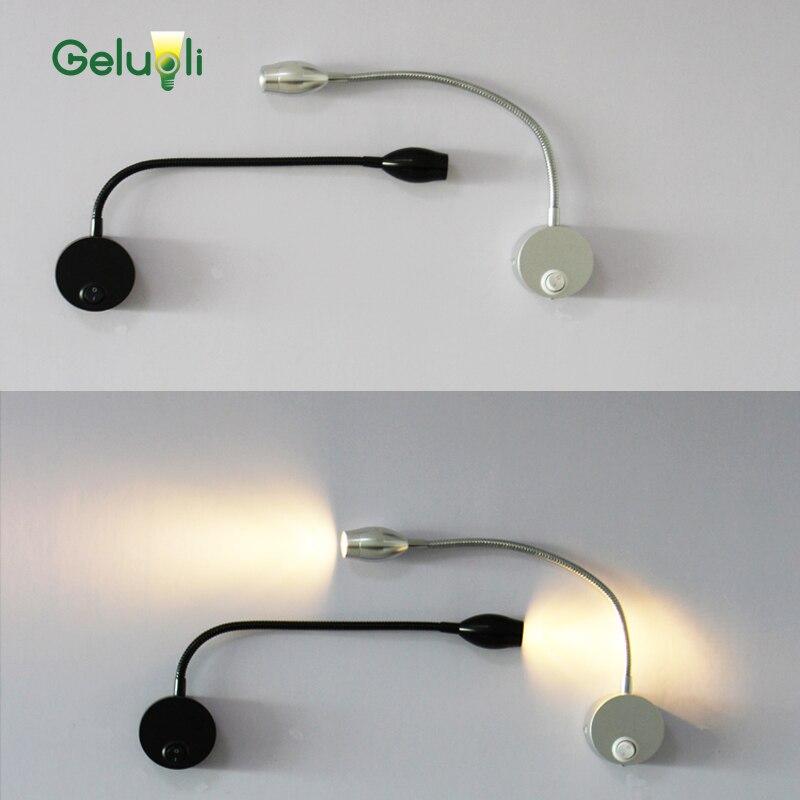 Flexibilní měkké trubkové nastavitelné LED nástěnné svítidlo, vnitřní nástěnná svítidla do ložnice pro čtení, světlo na čtení 3W, 280 mm, 100-240V