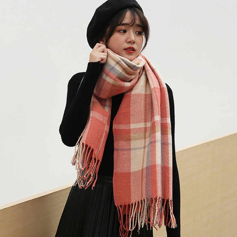 VEITHDIA 2019 秋冬女性のウールの格子縞のスカーフ女性のカシミヤスカーフワイド格子ロングショールラップ毛布暖かいティペット