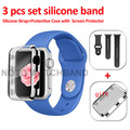 3PCS Set Silicone Sport  Watchband with Protective Case Gift  21 COLORS Silicone Strap for Apple Watch AW3SSPC