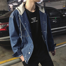 Spring New Men's Denim Jackets And Coats Hooded Loose Large Size Casual Fashion Wild Personality Streetwear Outwear Male Cowboy