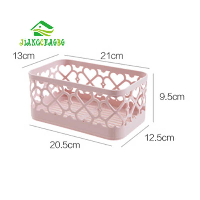 JiangChaoBo Cor Sólida Cesta de Armazenamento De Desktop Cosméticos Caixa de Armazenamento Do Banheiro Cesta De Armazenamento Retangular De Plástico De Drenagem