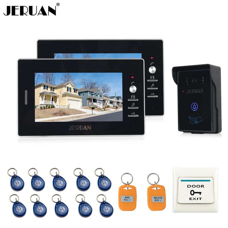 JERUAN NEW 7`` Video Intercom Entry Door Phone System 2 black monitors + 700TVL Touch Key Waterproof RFID Access Camera jeruan new 7 video intercom entry door phone system 1monitor 700tvl touch key waterproof rfid access camera remote control