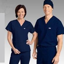 Медицинский мужской короткий рукав скраб наборы доктора спецодежда униформа одежда стоматологическая клиника Pet больница комбинезоны костюмы-RYLL