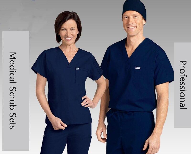 Medical Men's Short Sleeve Scrub Sets Doctors Workwear Uniform Clothes Dental Clinic Pet Hospital Overalls Clothing Suits RYLL