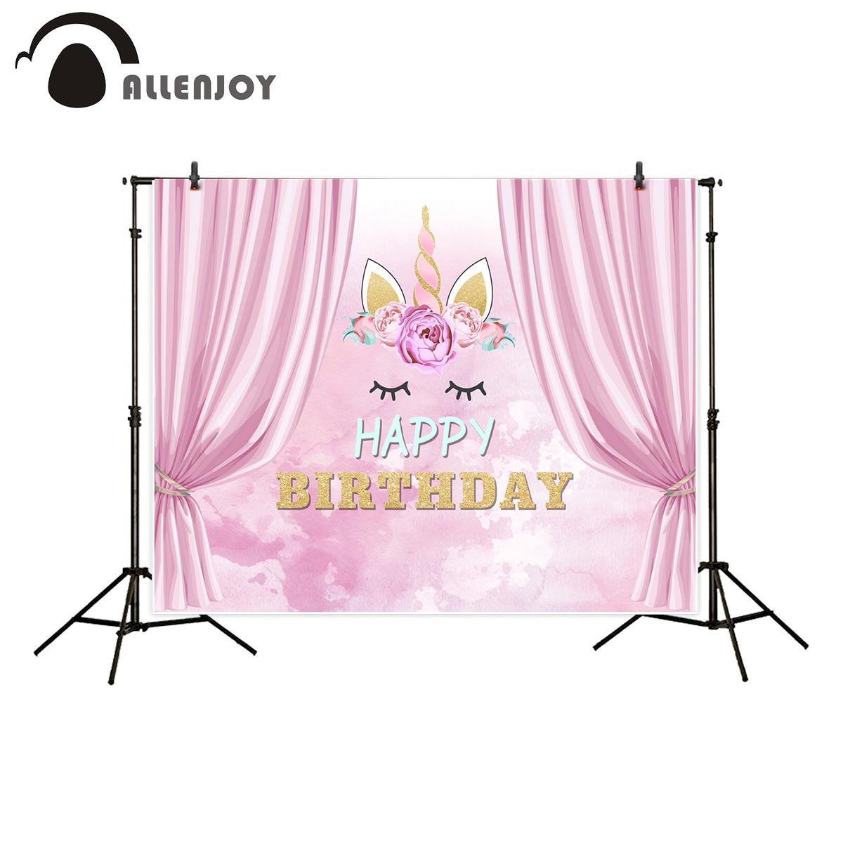 Allenjoy Photographie Toile De Fond Rose Rideaux Mignon Licorne Joyeux Anniversaire Fond Photo Studio Nouveau Design Caméra Fotografica