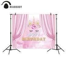 Allenjoy 사진 배경 핑크 커튼 귀여운 유니콘 생일 축하 배경 사진 스튜디오 새로운 디자인 카메라 fotografica