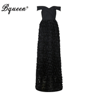 Bqueen 2017 Sexy Off Shoulder Slash Neck Black Women Dress Elegant Floor Length A Line Autumn