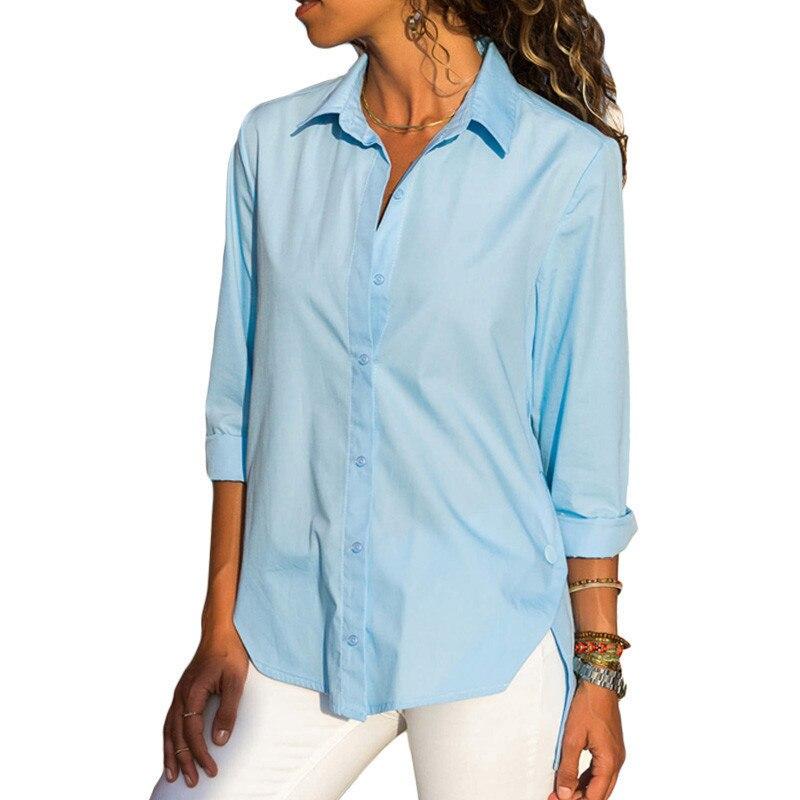 Women Fashion Solid Color Lapel Side Buttons Split Long Sleeve Chiffon Blouse Ladies Casual Loose Button Down Shirts Asymmetri