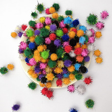 100Pcs/lot Mini Fluffy Soft Pom Poms Ball Plush Mixed Color Creative Kids Handmade Polypropylene Glitter DIY Craft Supplies
