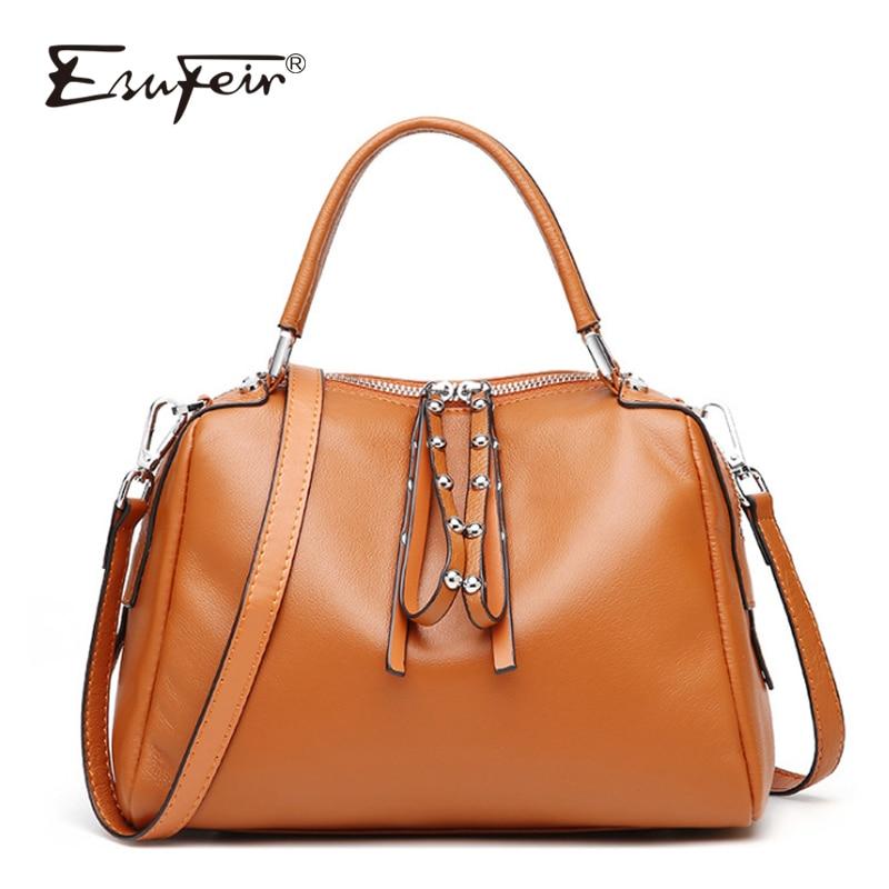 ESUFEIR 2018 Genuine Leather Women Handbags European And American Fashion Brand Shoulder Bag Messenger Bag Designer Tassel Bags