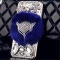 Plástico duro cobre Para 5S 6 6 s Luxo fox cabeça Strass capa de pele de coelho do telefone móvel case para iphone 6 plus diamante cristal