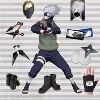 2018 New Japanese Anime Cosplay NARUTO Hatake Kakashi Cosplay Costume + Accessories Full Set Halloween Halloween costume Cosplay