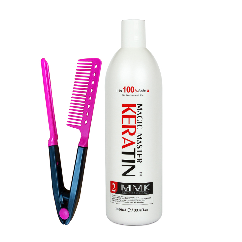 Hot Sale Fresh Smelling 1000ml Magic Master Keratin Hair Treatment Without Formalin Straighten Damaged Hair Get One Free Comb
