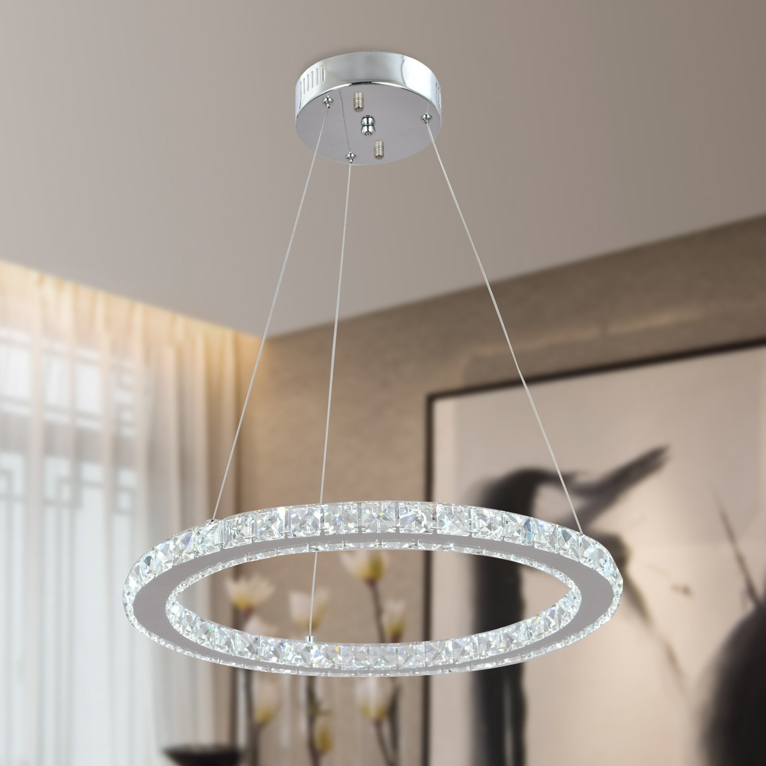 Single Rings Modern LED Crystal chandelier Round Hanging Lamp for