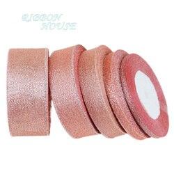 (25 jardów/rolka) Flesh różowa metaliczna brokatowa wstążka kolorowy prezent pakiet wstążki hurtownia 6/10/20/25/40mm