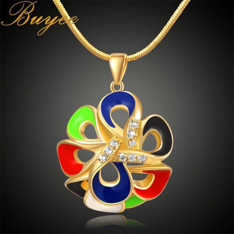 BUYEE Women Necklace Flower Pendant Yellow Gold Color Round Necklaces & Pendants Copper Necklace For Women Jewelry chic women s flower pendant necklace