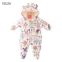 TZCZX 6430 Children Baby Boys Girls Rompers Novelty Cartoon Printed Hooded Thicker Cotton Jumpsuit For 3
