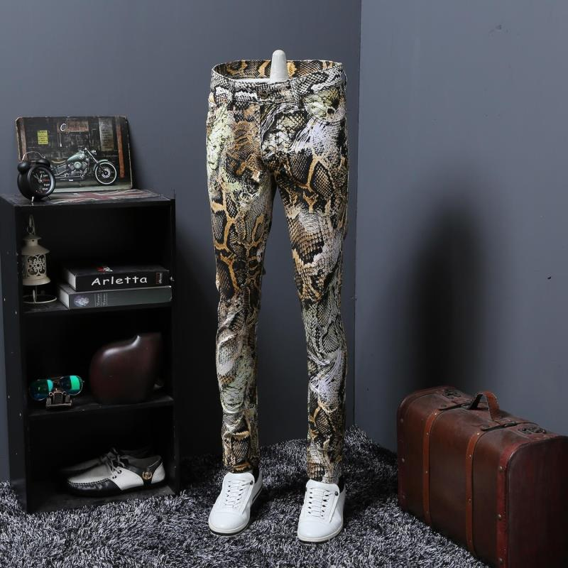 Mens Fancy jeans/Floral printed jeans men/Slim fit punk style fashion brand Reasard Jeans 29-38