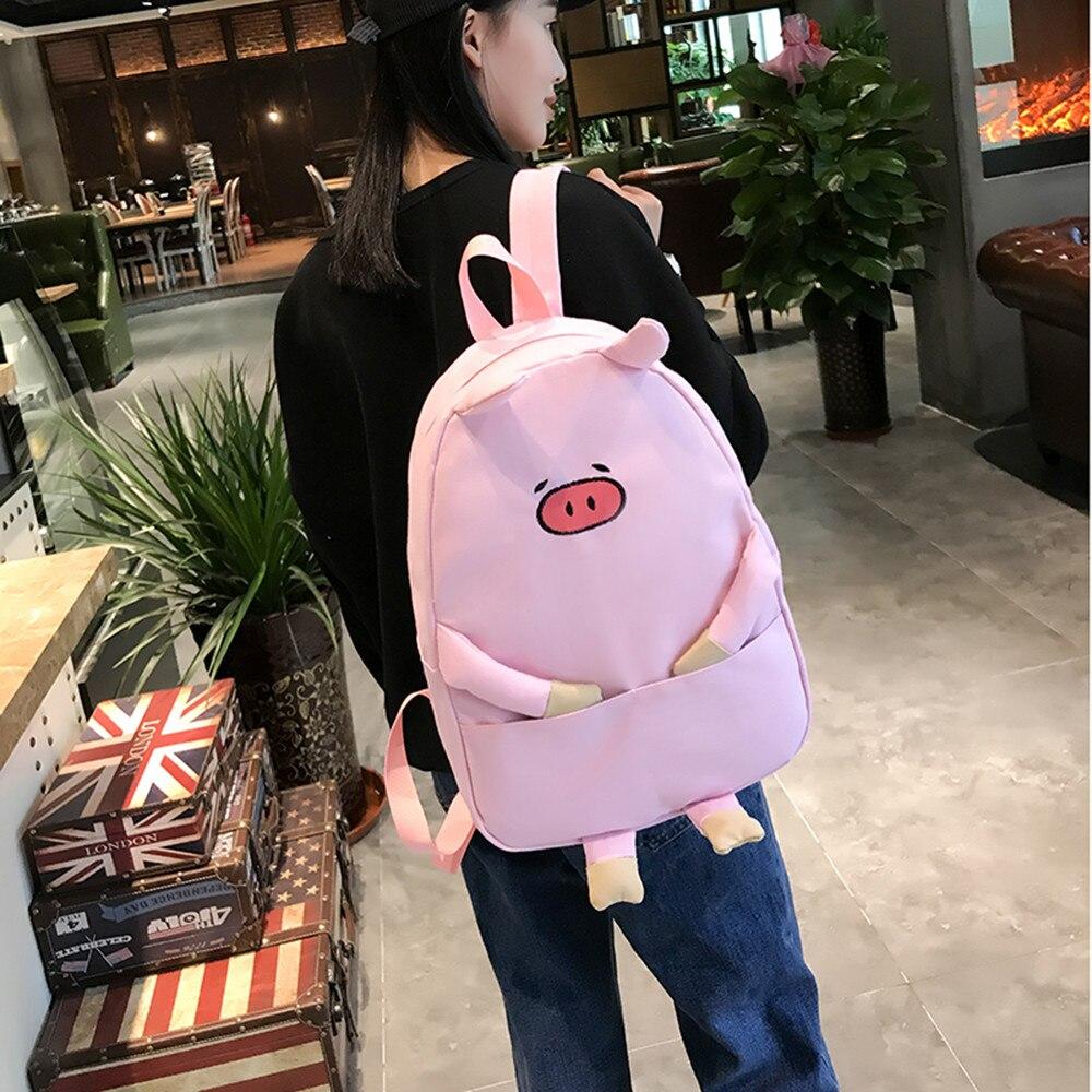 Women Girl Canvas Piggy Print Cute School Bag Travel School Backpack font b Bolsas b font
