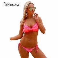 Feiterawn Female Pink Ruffled Push Up Bikini Swimwear Swimsuit Triangle Bikinis Set Summer Women Swimwear Bathing