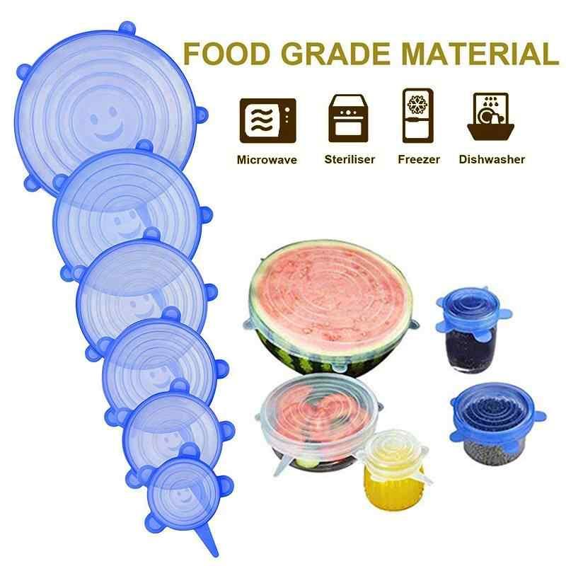 6 ชิ้น/ล็อต Reusable อาหารสดห่อเก็บซิลิโคนห่อฝาปิดยืดสูญญากาศห่ออาหารชามหน้าแรกครัวเครื่องมือ