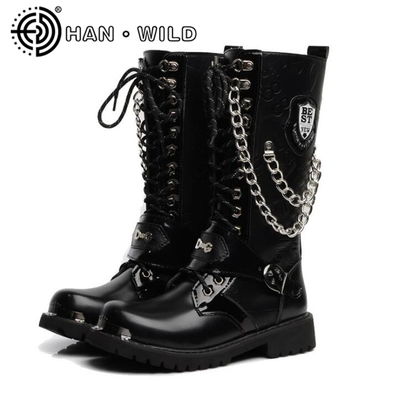 Mens Punk Military Combat Army Ankle Boot Motorcycle Biker Boot Metal Heel Shoes