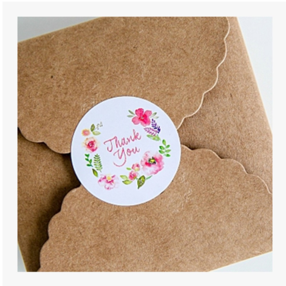 100PCS 3.5cm Flower Design Sticker Labels Creative Paper Stickers Thank You Sticker Seals Labels For Gifts