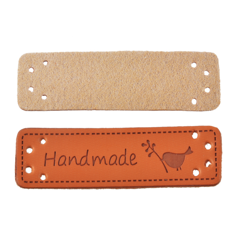 Hoomall 10PCs Hand Made Labels PU Leather Tags On Clothes Garment Labels For Jeans Bags Shoes Sewing Accessories