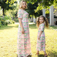 Mother Daughter Dresses Fashion Printing Family Matching Clothes Casual Short Sleeve Mommy and Me Clothing