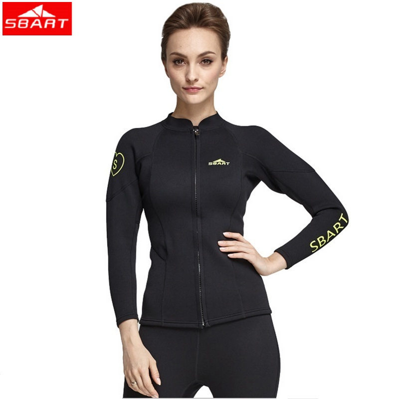 Women's Long Sleeve Wetsuit 2MM Neoprene Jacket Black Surfing Diving Suit Tops Pants Front Zip for Swimming Diving Snorkeling professional surfing swimwear mens one piece diving swimsuit lycra front zip crew uv snorkeling swimming surfing suit wetsuit